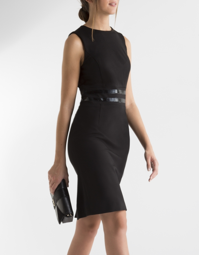 Black dress with fitted waist belt