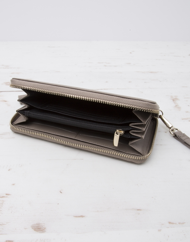 Taupe billfold with strap