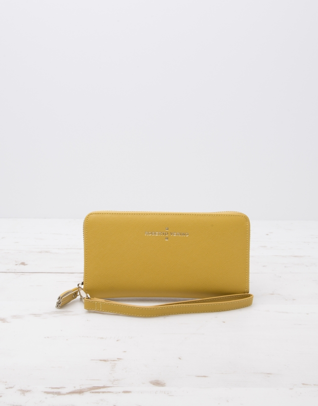 Yellow billfold with strap
