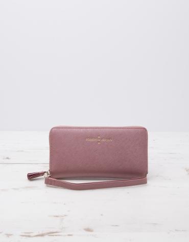 Pink billfold with strap