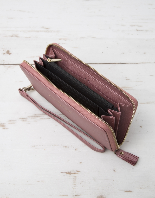 Pink billfold with strap