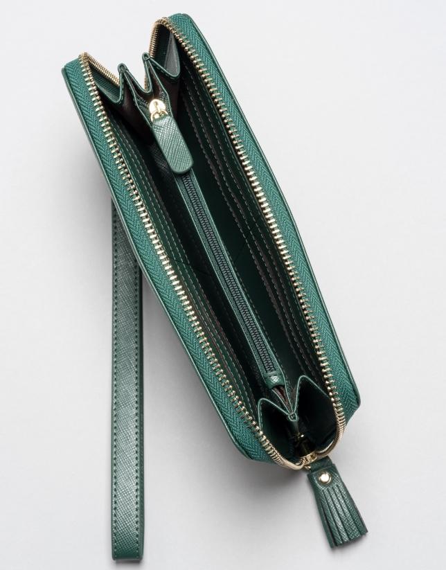 Green billfold with strap