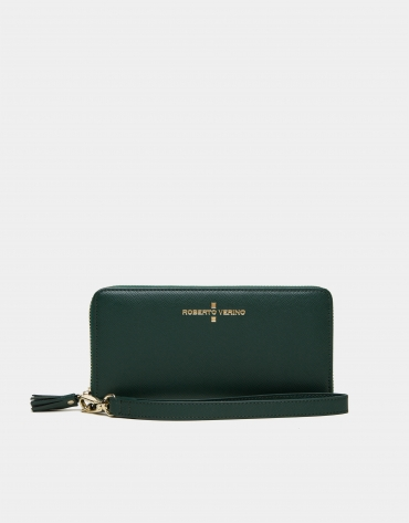 Green Saffiano leather mega billfold