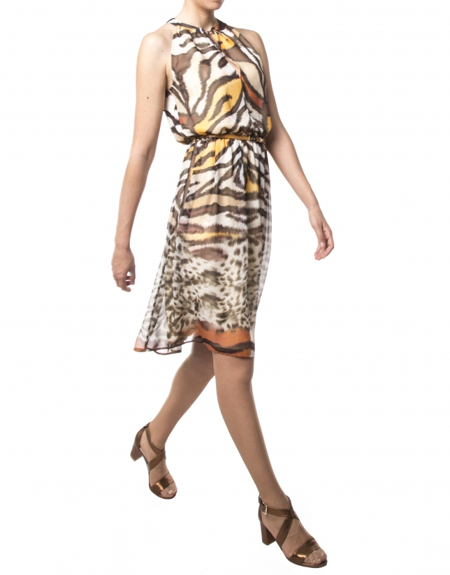 Robe courte imprimé animal
