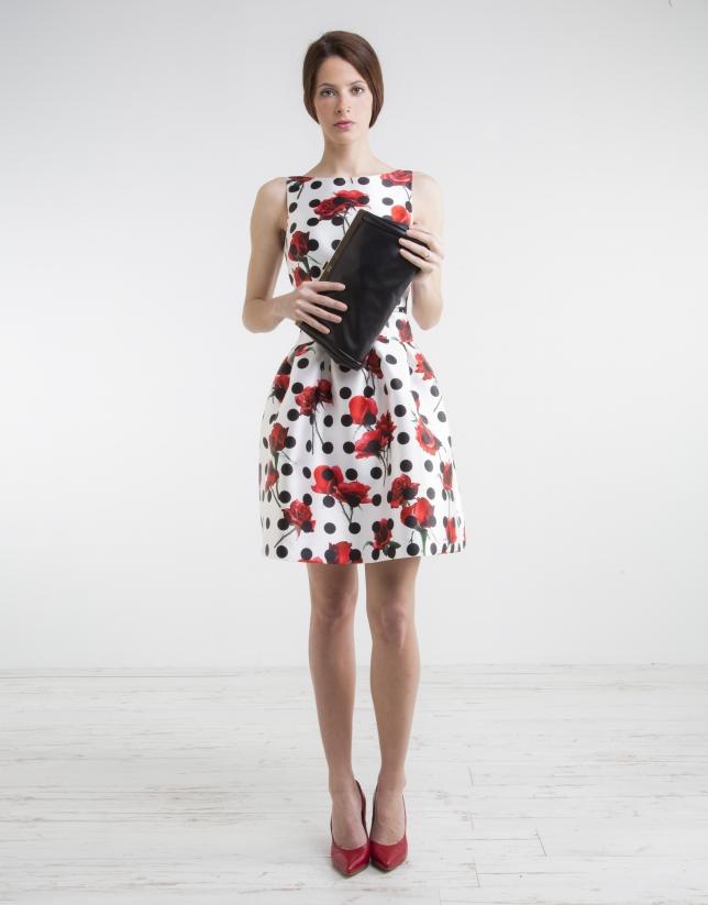 Floral print dress with black polka dots