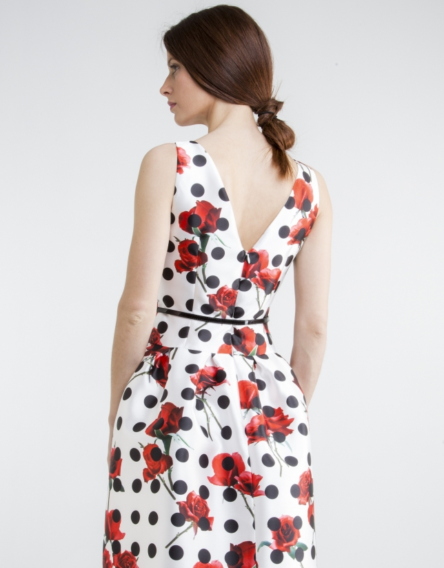 Floral print dress with black polka dots