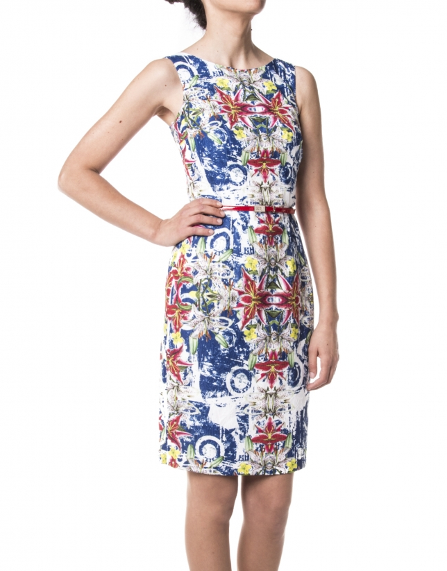 Blue print sheath dress