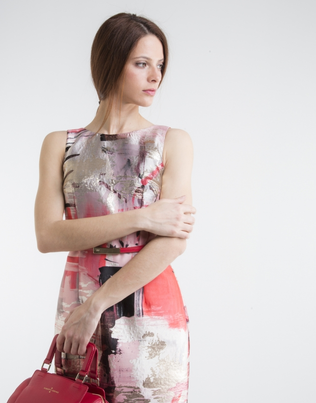 Printed dress with back straps
