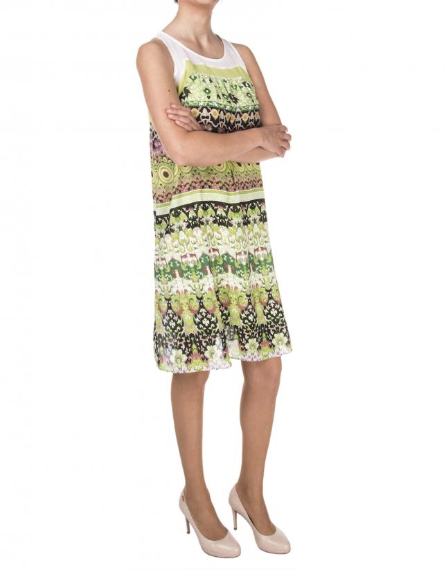 Green print flowing dress