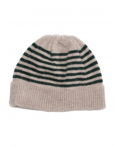 Beige and green stripe knitted cap.