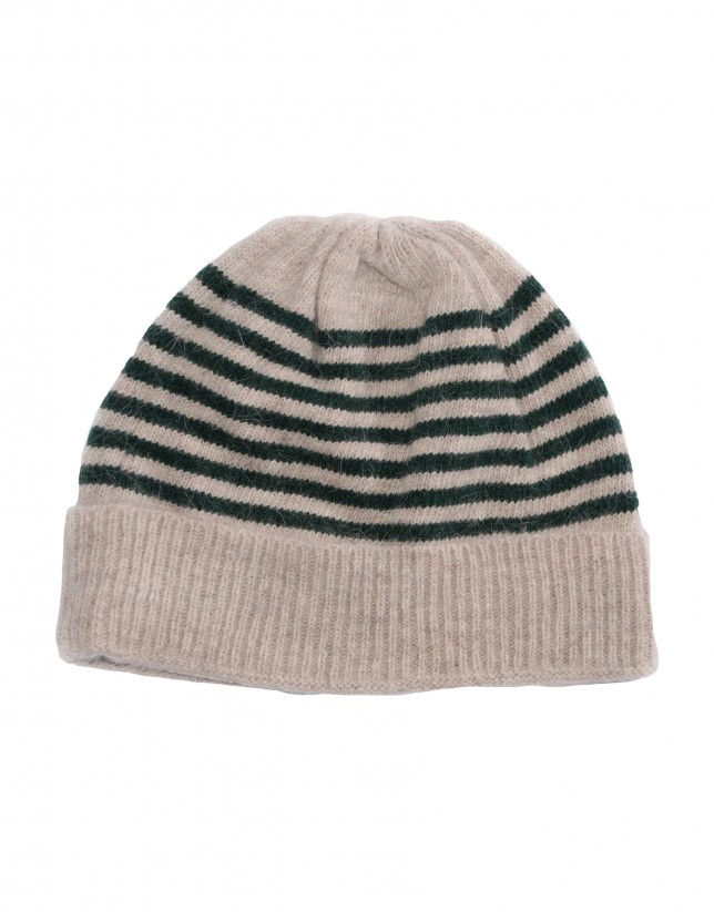 Beige green striped knitted cap