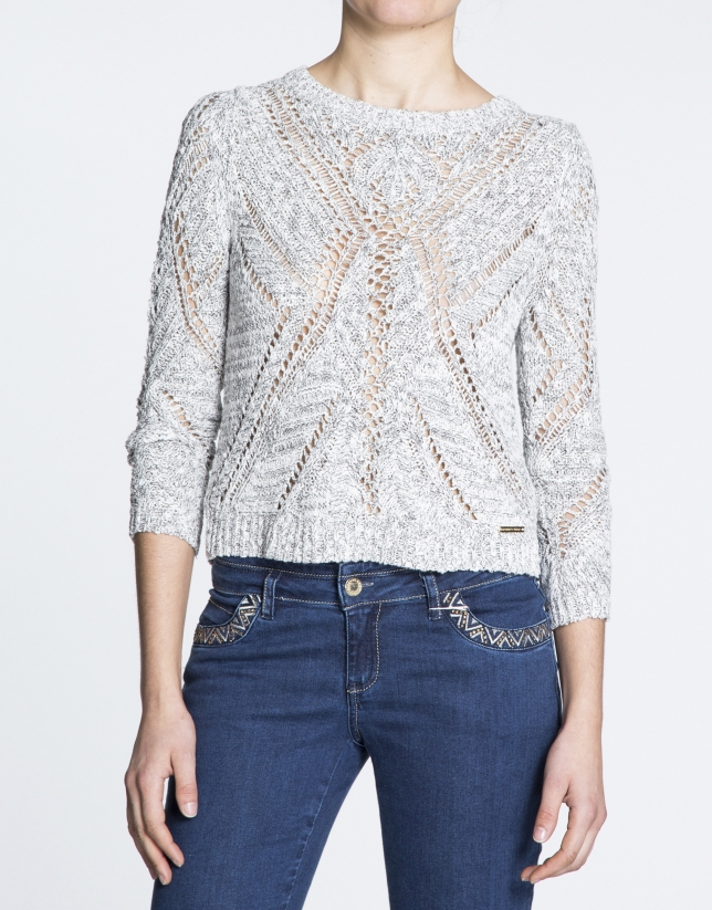 Geometric openwork long sleeve sweater