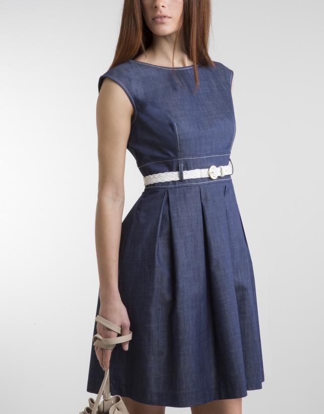 Blue dress with full skirt