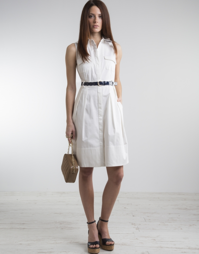 Off-white shirtwaist dress with full skirt