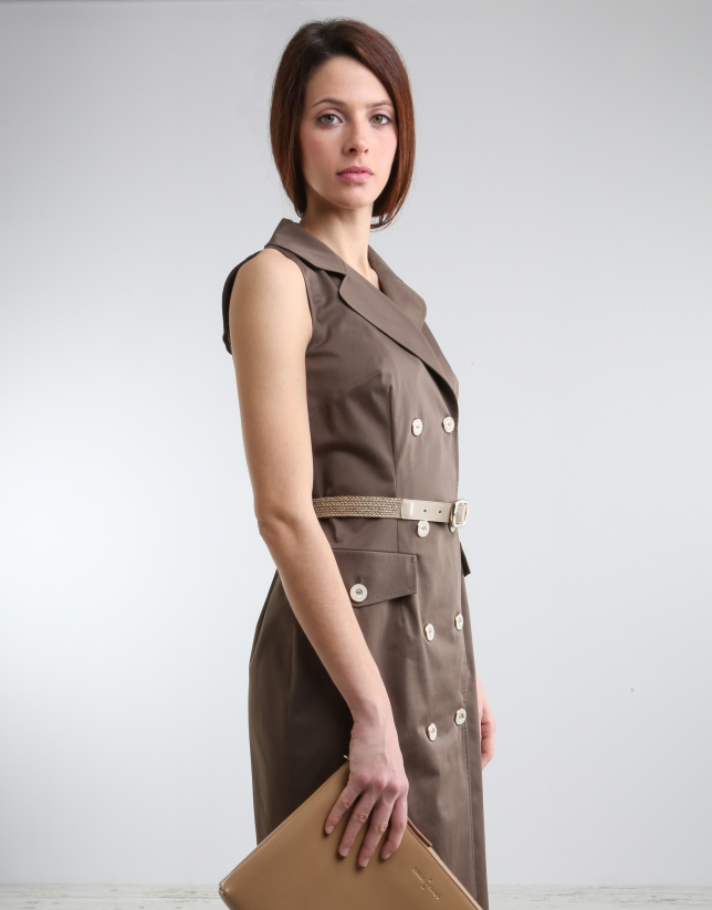 Khaki green shirtwaist dress