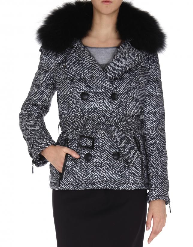 Herringbone print ski jacket with black raccoon collar