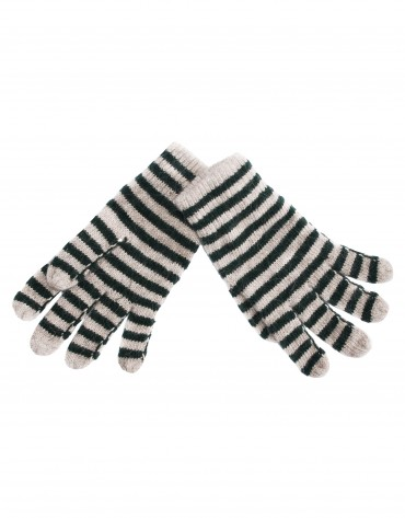 Beige and green stripe knitted gloves.