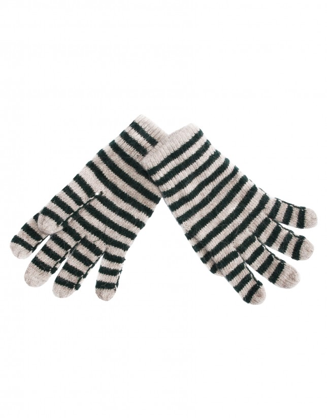 Beige green striped knitted gloves