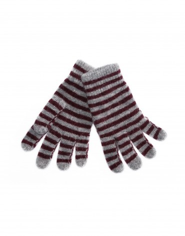 Grey and bordeaux stripe knitted gloves.