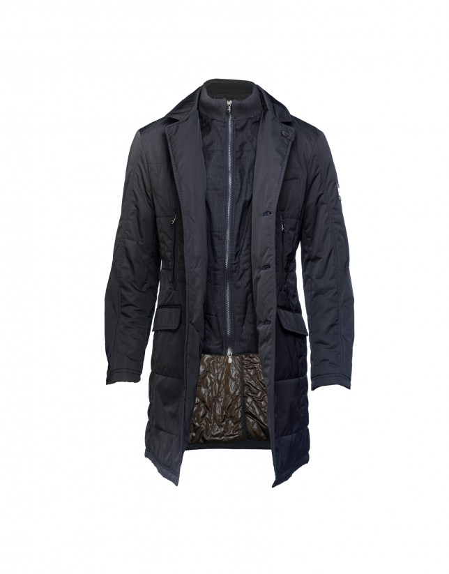 Dark blue quilted coat