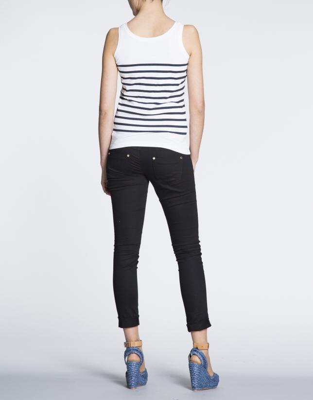 Camiseta de tirantes con estampado marinero en azul.