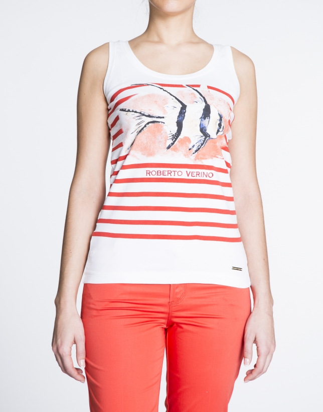 Geranium red sailor print top