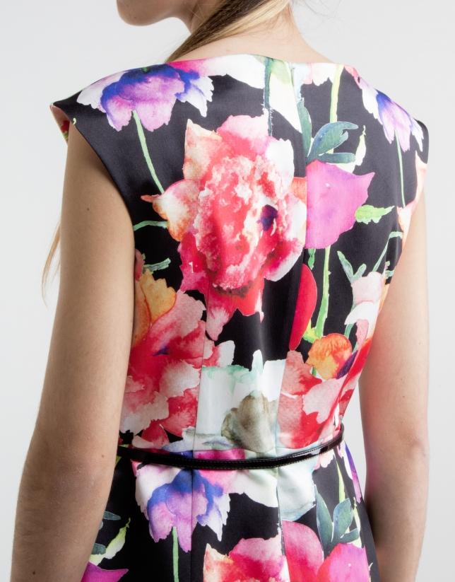 Robe droite à motif floral