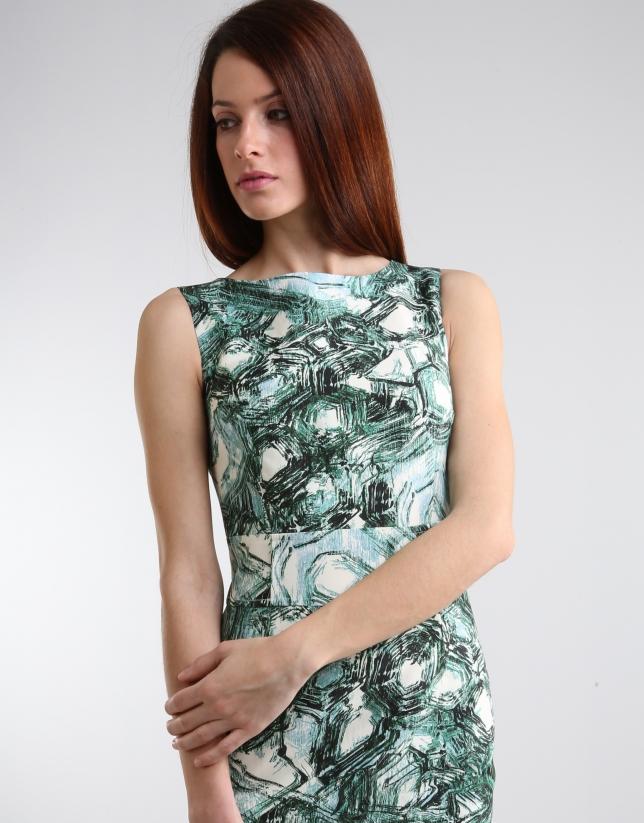 Vestido recto estampado verde