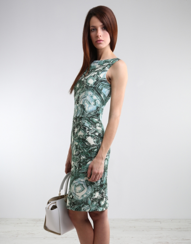 Green print straight dress