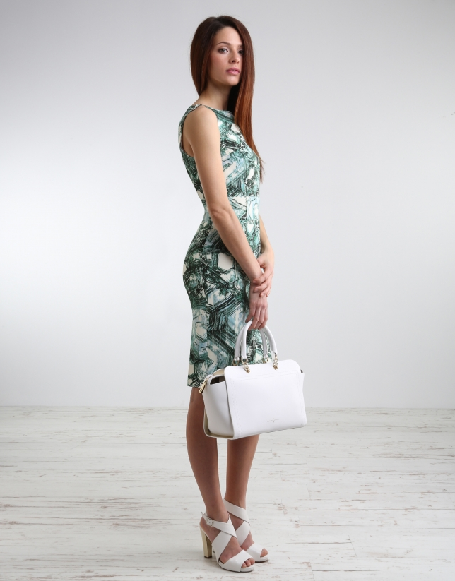 Green print straight dress