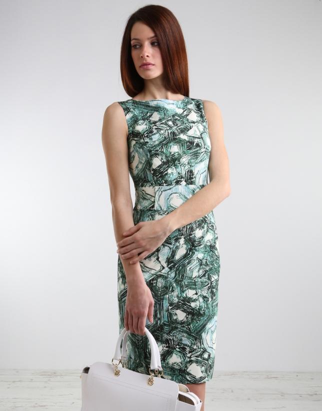 Robe droite à imprimé vert
