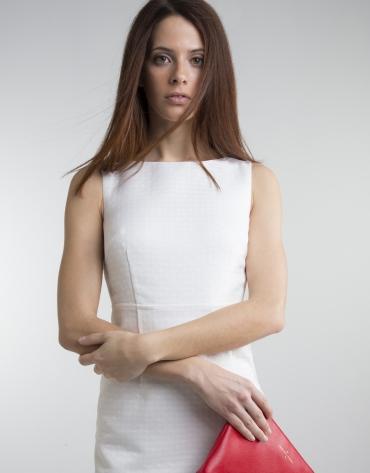Robe droite blanc cassé