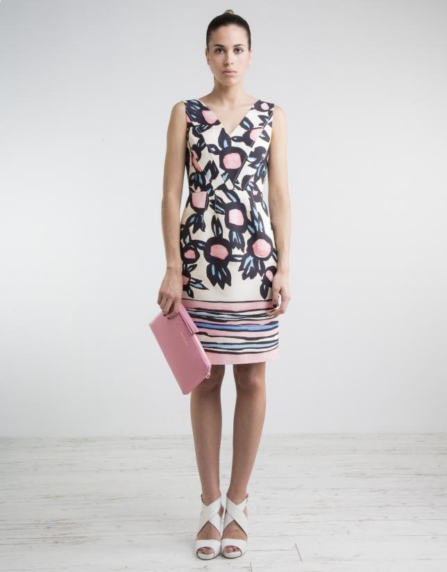 Print V neck dress