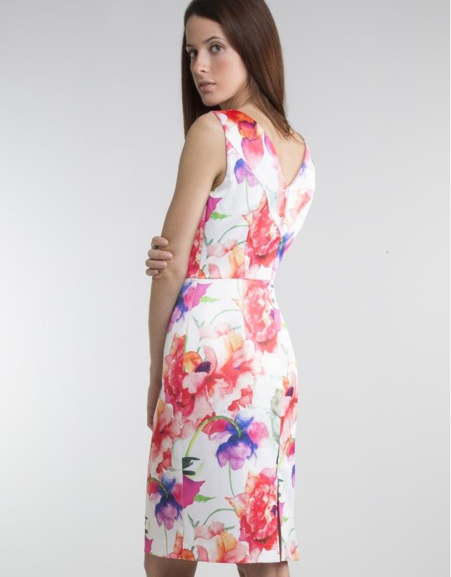 Vestido escote pico floral