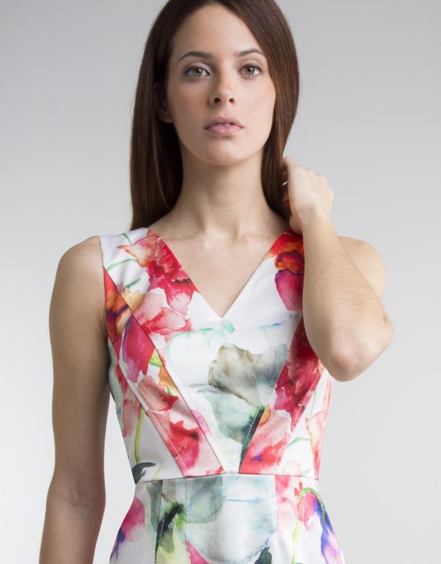 Floral print V neck dress