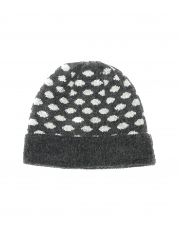 Grey and white jaquard knit cap.