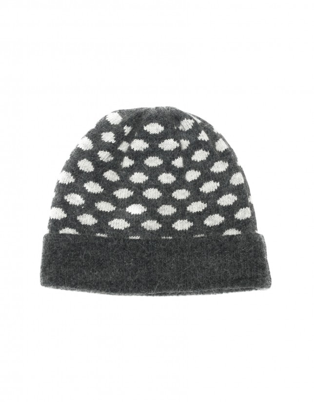 Grey white jacquard knitted cap
