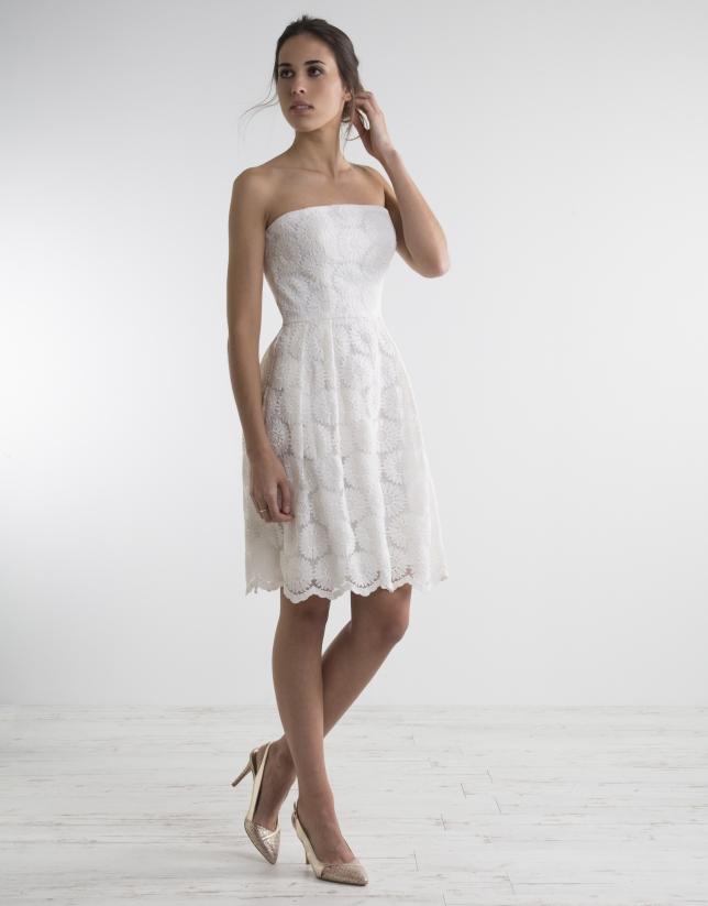 Vestido palabra de honor blanco