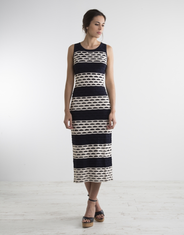 Long two tone knit dress