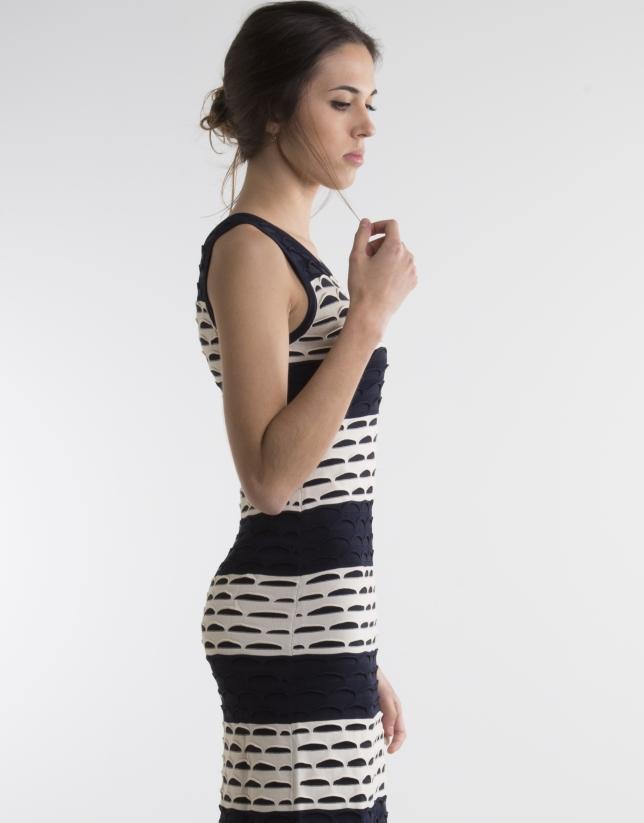 Vestido punto largo bicolor