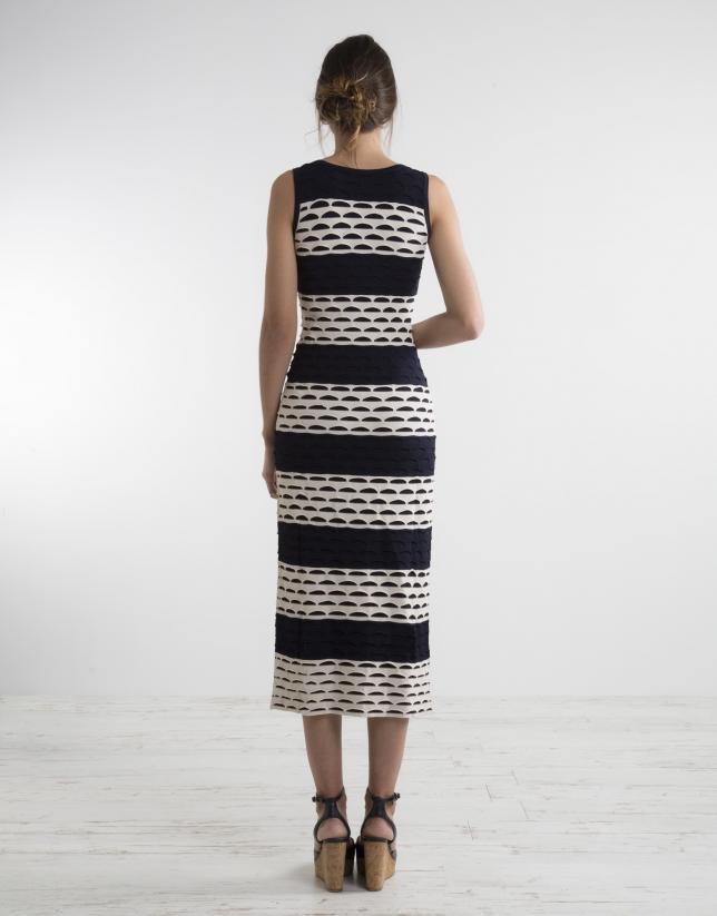 Long two tone knit dress