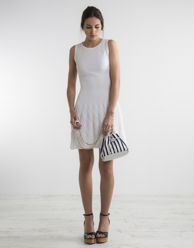 Off-white knit loose dress
