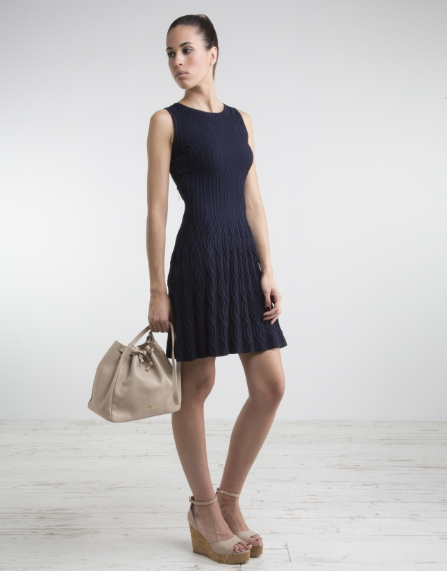Navy blue knit loose dress