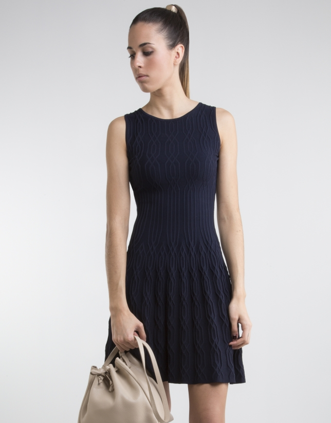 Navy blue knit loose dress