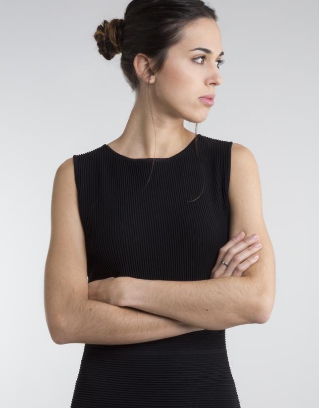 Vestido punto entallado negro