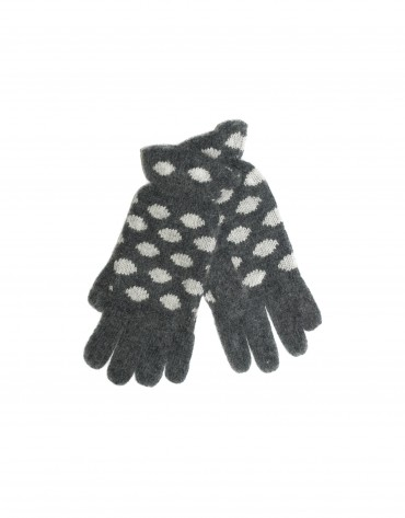 Grey and white jaquard knit gloves.