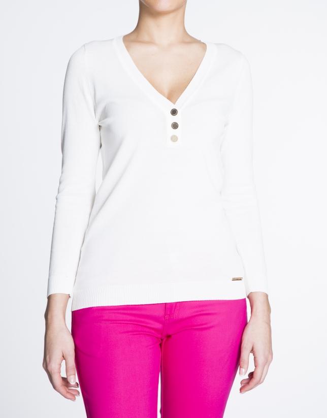 Jersey cuello pico blanco