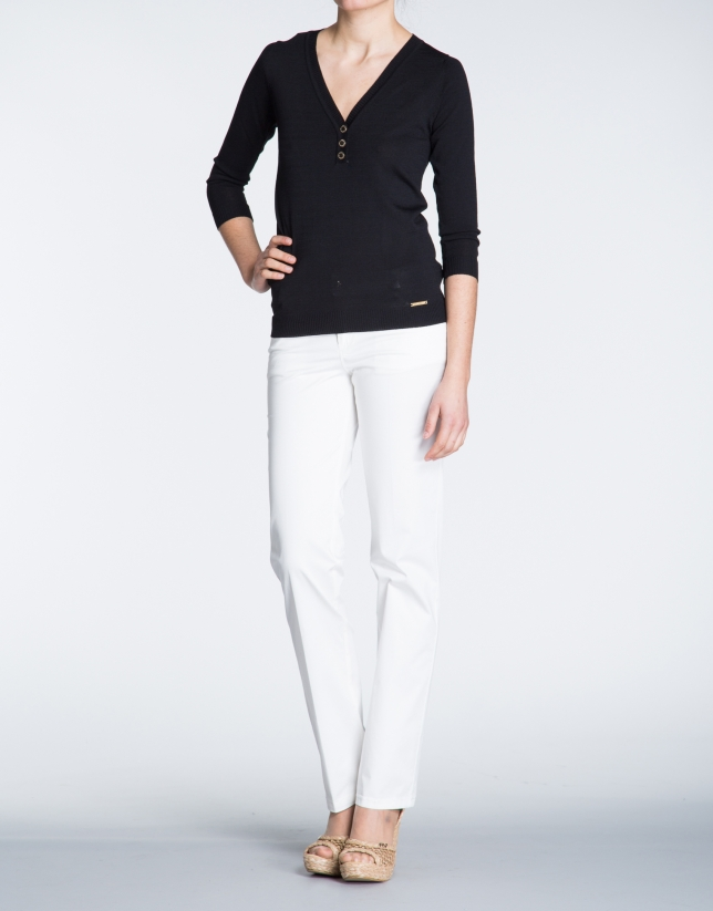 Black V-neck sweater