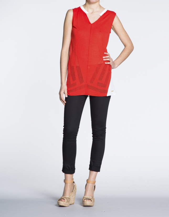Long coral and beige top with slits
