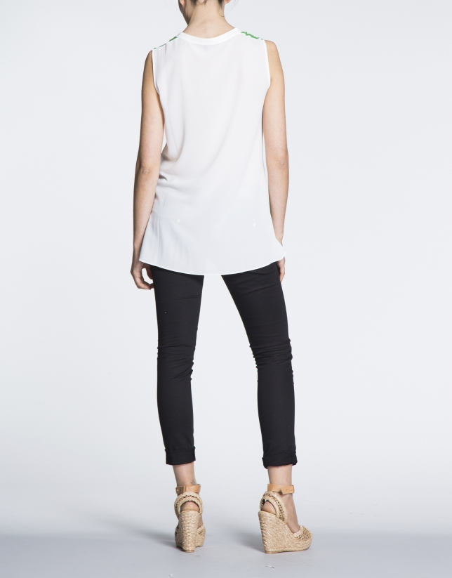 Long green and beige top with slits